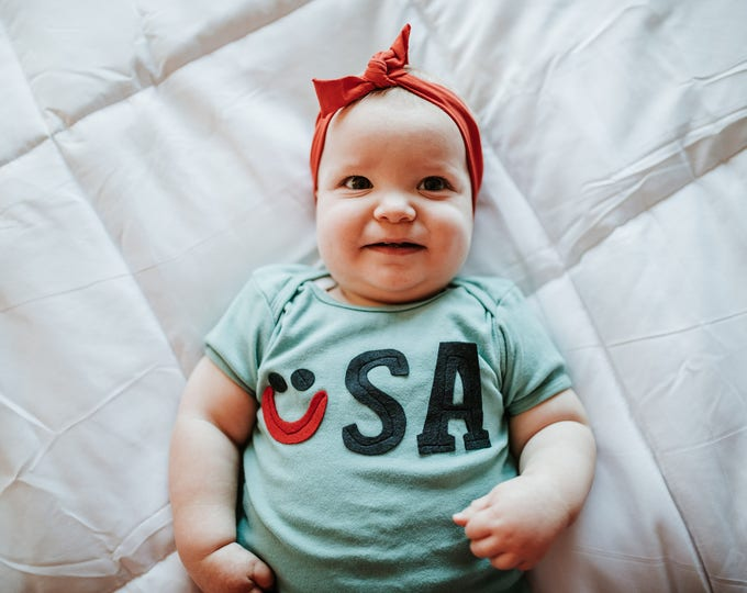 "Swanky Shank ""Smile for USA"" Hand-Dyed Teal tee; Olympic Tee"