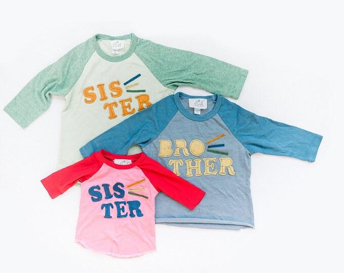 "Swanky Shank ""Hey Sister, Hey Brother"" Hand-Dyed Baseball Tee; Sibling Tees"