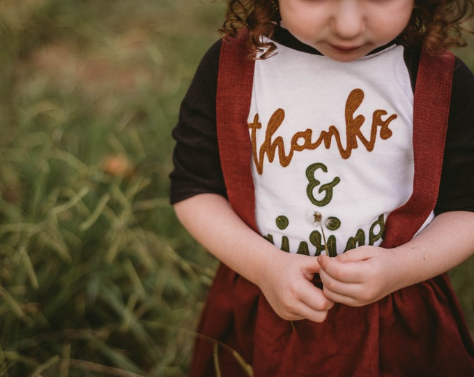 "Swanky Shank Thanksgiving ""Thanks & Giving"" Baseball Tee"