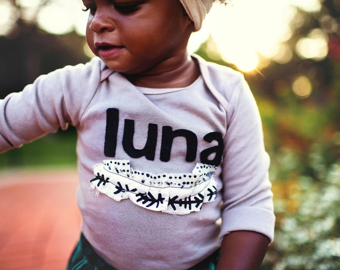 """Swanky Shank Girl's """"Luna's Hand-made"""" Hand-dyed Grey Design; Leave Child's Name at Check-out"""