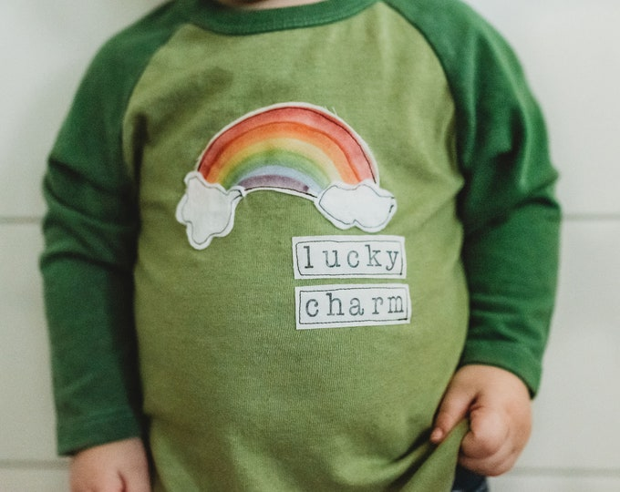 "Swanky Shank ""Lucky Charm"" Hand-Dyed Green Baseball Tee; St Patricks Day Design"