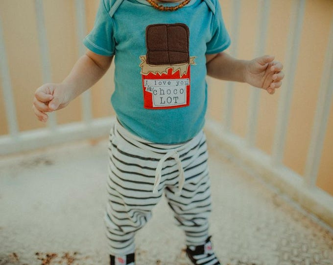"Swanky Shank Hand Dyed ""I Love You a Choco LOT"" Baby Bodysuit or Big kid Tee; Valentine's Day"