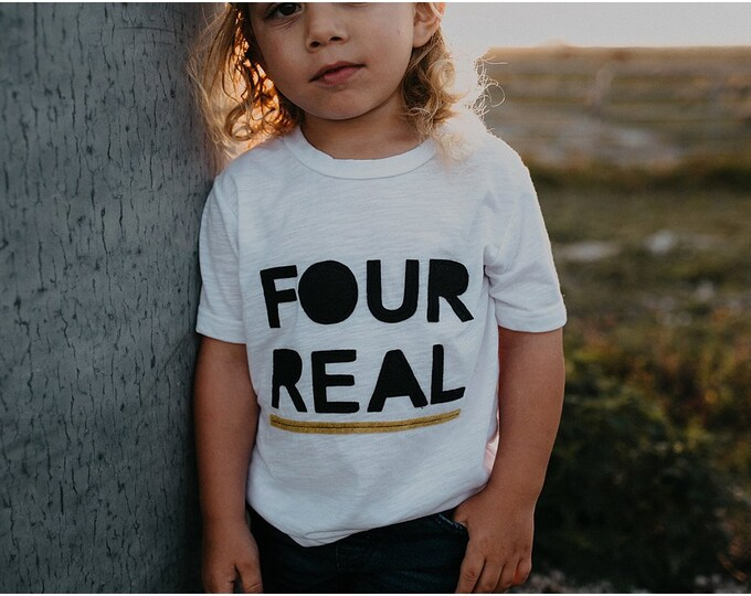 "Swanky Shank ""Four Real"" Four Year Old Birthday Tee"