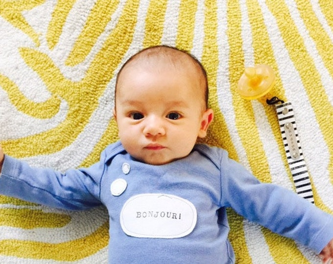 """Swanky Shank """"Bonjour!"""" Hand Dyed Gender Neutral Bonjour Bebe Bodysuit, Coming Home Outfit, French Inspired, Paris Themed Baby Shower, Bebe"""