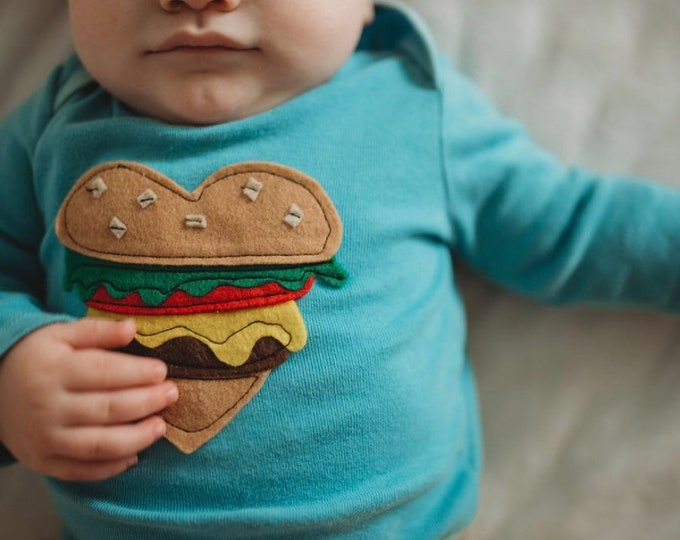 "Swanky Shank ""Hamburger Love"" Hand-Dyed Bodysuit or Tee"