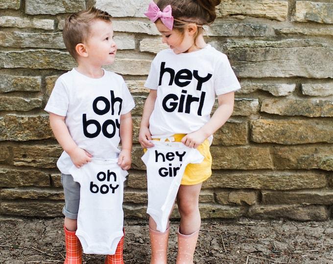 """Swanky Shank """"Oh boy, Hey girl"""" Bodysuit or Tee; Gender Reveal"""