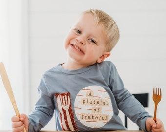 Friendsgiving Shirt | Toddler Plate Set | Kids Friendsgiving shirts | Toddler Plate and Spoon | A Plateful of Grateful | Thanksgiving Shirt