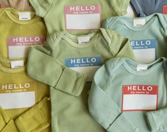 Hello My Name Is Newborn | Hello My Name is Tag | Hello Tshirt | Coming Home Outfit | Newborn Baby | Baby Shower Gift | Muted Colors
