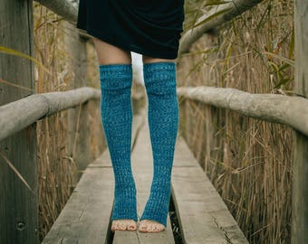 Yoga socks spats / dance socks / boot socks leg warmers Blue very long knee high gift for yoga Clothing Accessories Women legwear