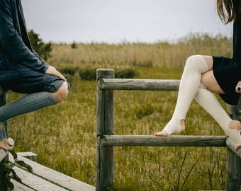 100% ORGANIC WOOL Yoga socks / dance socks / leg warmers / boot socks White, very long, Accessories / Women / gift for yoga legwear