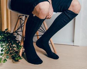 Mens Socks / Black Long Knitted socks / Mens Accessories  / Warm Very Long  Mens Socks / Knee Knigh Mens Socks