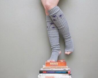 Violet flower / Yoga socks / dance socks / leg warmers / boot socks Grey very long painted Accessories Women Clothing flower gift legwear