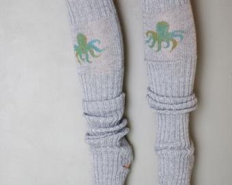 Octopus / Yoga socks / dance socks / leg warmers / boot socks Grey very long hand painted Accessories Women Clothing Ocean gift legwear