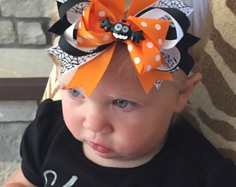 Halloween Headband, Girls Halloween Hair Accessories, Black and Orange Headband