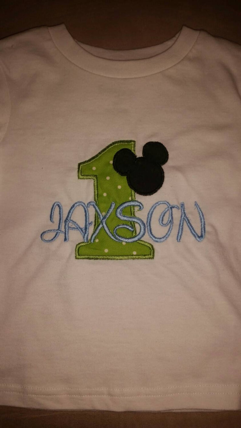 Personalized Mickey Mouse 1 Year Old Birthday Shirt Applique