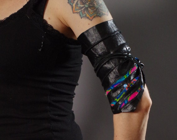 Burning Man - Festival Leather Cuff - Burning Man - Tribal - Leather Arm bracelet- Leather Cuff - Psychedelic