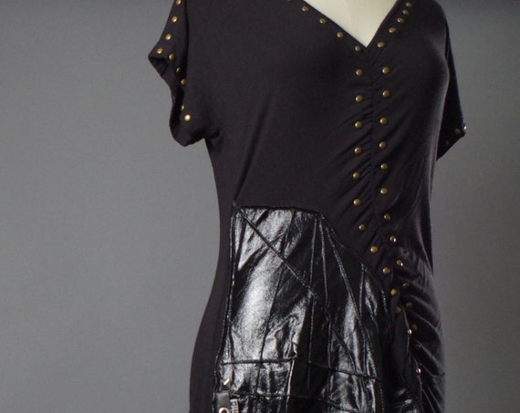 OOAK Black Maxi Dress - Maxi Black Dress - Black Maxi Dress - Dark Fashion - Studded - Up-cycled Clothing