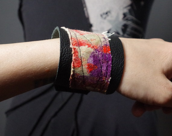 Painted Leather Cuff - Up-cycled leather cuff - Hand painted denim cuff