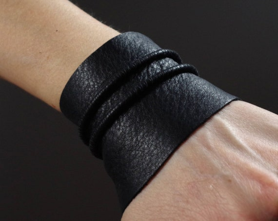 Black Leather Cuff Bracelet - Leather Cuff Bracelet - Black Leather Cuff - Black Leather Bracelet - Leather Black Cuff