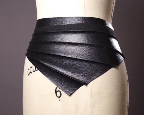 Vegan Leather Obi Belt - Black Leather Obi Belt - Faux Leather Black Belt - Fashion Accessories