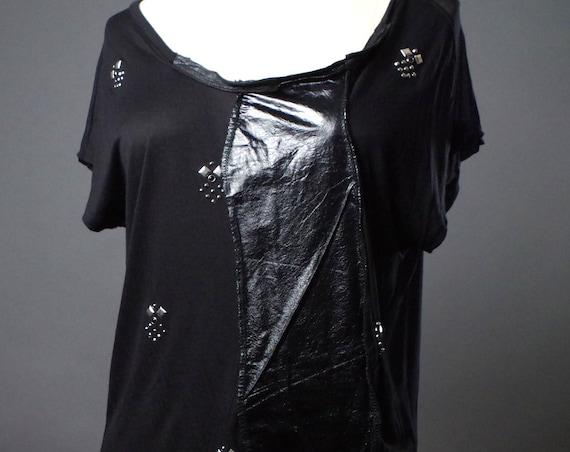 Black Leather TTop - Black T-shirt - Tooled Black Top - Black rocker top- Black T-shirt -  Dark Fashion