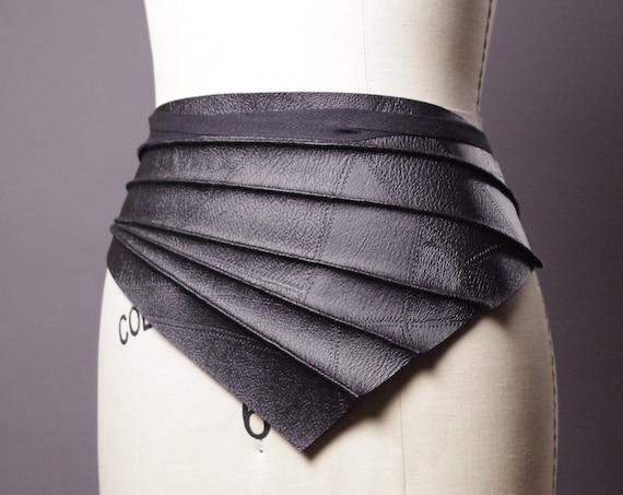 Vegan Leather Obi Belt - Black Leather Obi Belt - Faux Leather Black Belt - Goth - Fashion Accessories