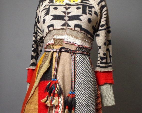 Patchwork Cardigan Coat - Up-cycled Sweater Cardigan - Cardigan Hoodie - Burning Man - Designer Clothing - Art to wear
