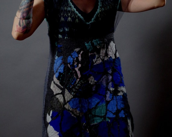 Up-cycled Cashmere Dress - Patchwork Cashmere Dress - Up-cycled Clothing - Art to Wear Clothing