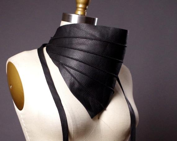 Leather Obi Belt - Black Leather Obi Belt - Women's Wrap Belt - Leather Bib Necklace - Fashion Accessories
