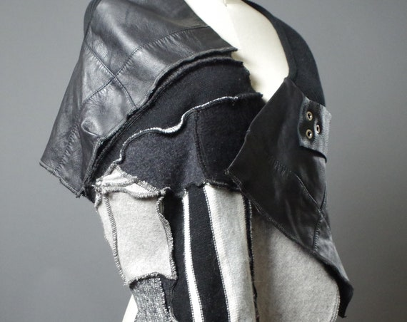 Leather Cashmere Scarf - Cashmere and Leather Scarf - Women Scarf wrap - Cashmere Wrap scarf