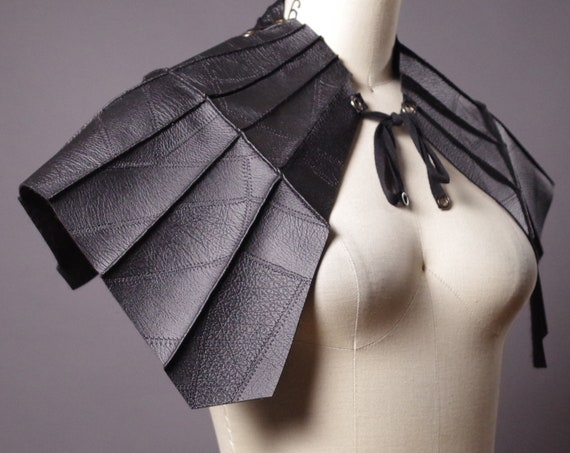 Bat Leather cape - Leather Bat Collar - Bat Cape - Leather Accessories - Fashion Accessories