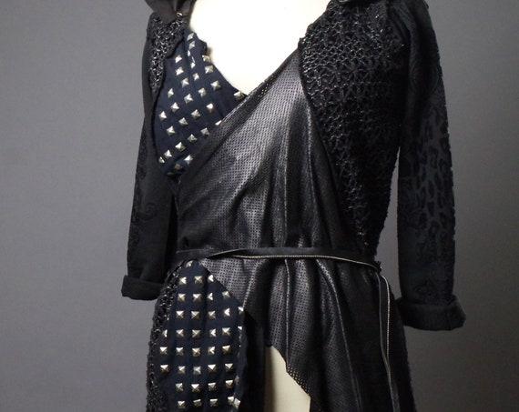 Studded Black Hoodie - Black Hoodie Cardigan - Dark Fashion - Studded - Rocker