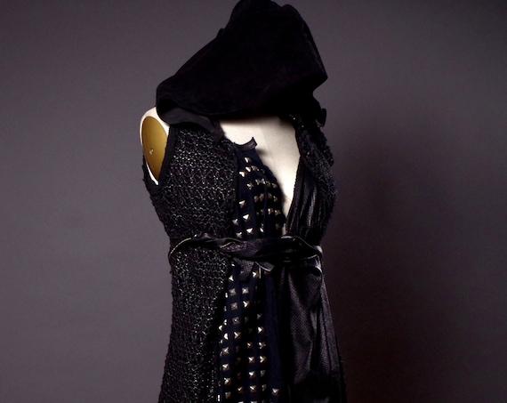 Studded Black Hoodie - Studded Leather Jacket - Black Studded Vest  - Dark Fashion - Studded