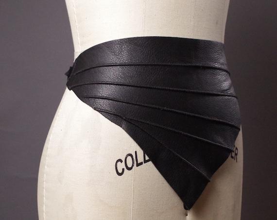 Black Leather Belts - Leather Wrap Belt - Black Leather Obi Belt - Leather Bib Necklace - Leather Accessories - Fashion Accessories