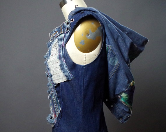 Denim Maxi Dress - Denim Hoodie Dress - Up-cycled Clothing - Punk - Street Wear - Up-cycled Repurposed