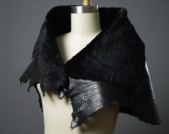 OOAK Leather Caplet - Black Leather Caplet  - Women's Leather Caplet - Dark Fashion - Designer Clothing
