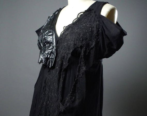 OOAK Black Maxi Dress - Leather Black Dress - Black Maxi Dress - Dark Fashion - Ripped - Designer Clothing