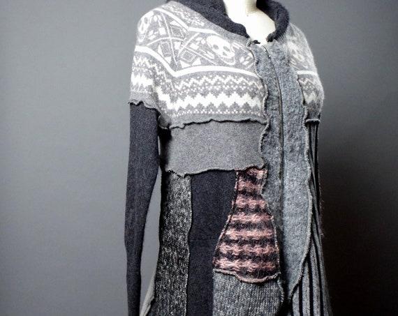 Skull Sweater Cardigan - Up-cycled Sweater Cardigan - Cardigan Sweater Hoodie - Cashmere Cardigan Sweater - Skull