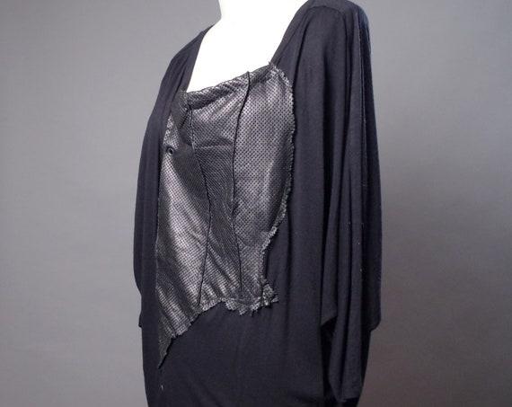 Black Loose Dress - Black rayon snd leather dress - Dark Fashion