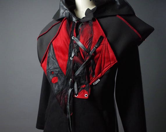 OOAK Leather Jacket - Neoprene and Leather Jacket - Black and Red Jacket - Halloween