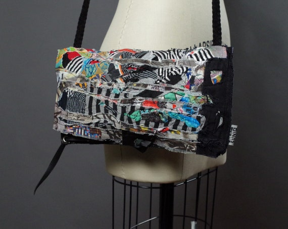 Up-cycled Leather Purse - Graffiti - Zero Waste Accessories - OOAK Up-cycled Leather Clutch
