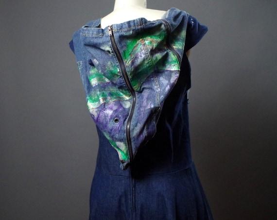 Denim Maxi Dress - Denim Hoodie Dress - Up-cycled Clothing - Punk - Street Wear - Up-cycled Repurposed