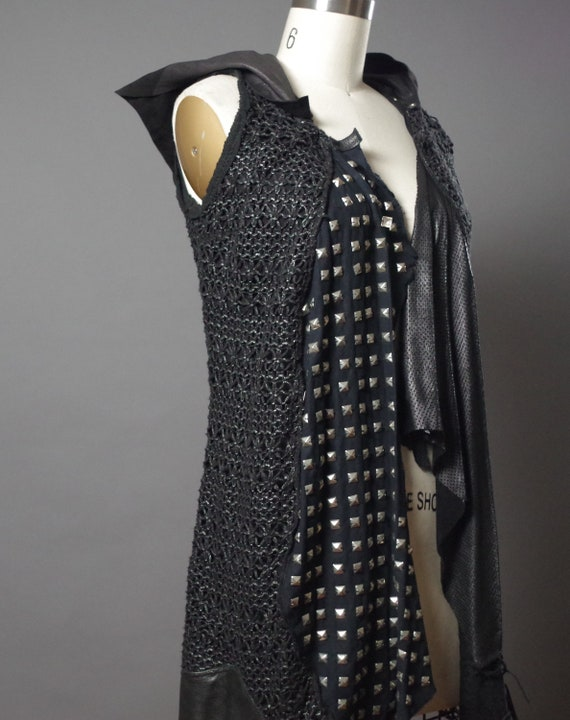 Studded Black Hoodie - Studded Leather Jacket - Black Studded Vest  - Dark Fashion - Studded