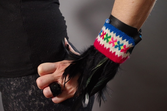 Feather Leather Cuff Bracelet - Burning Man - Leather Feather Cuff - Festival Accessories - Tribal