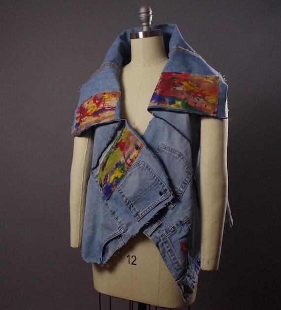 Painted Denim Vest- Denim Vest - Denim vest jacket - Street wear