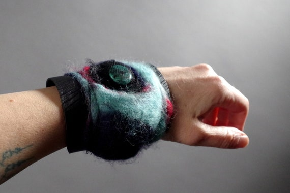 Hand Felted Cuff - Felted Cuff Bracelet - Winter Accessories - Merino wool and leather cuff