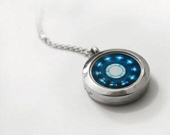 Stainless steel locket Iron man necklace Heart Arc reactor locket // code:IronMan