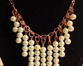 ON SALE - Mint Green and Copper Chain Necklace and Earrings Set