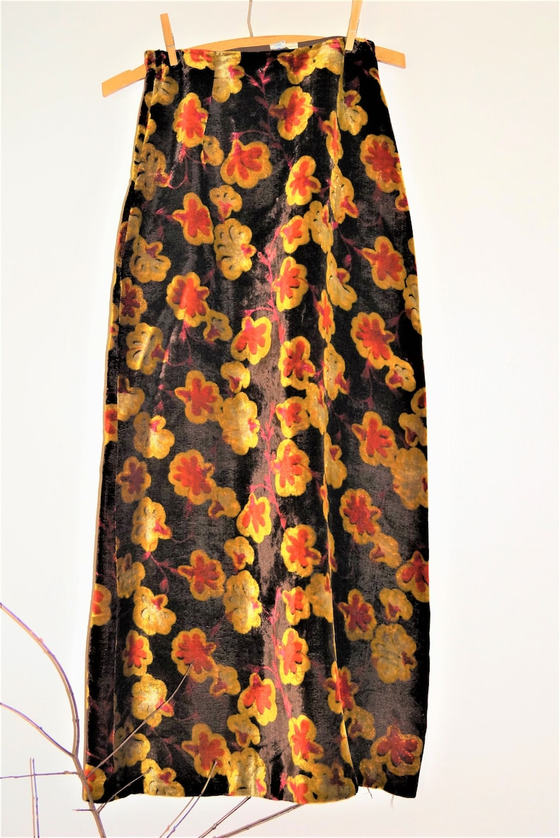 Seventies Velvet MAXI Skirt Rusts Browns Oranges Perfect Condition and Awesome with boots