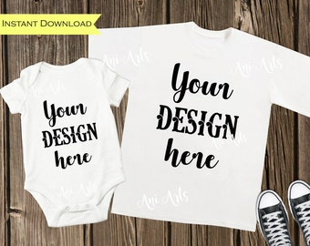 Download Free Matching White T-shirt and Baby Bodysuit MOCK UP Image JPEG File for Product Display Blank Short Sleeve Tee and Baby Body Suit Mockups PSD Template